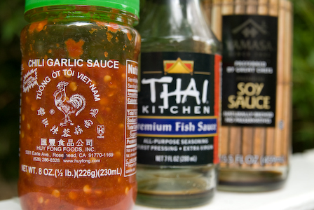 Chili Garlic sauce, fish sauce, soy sauce
