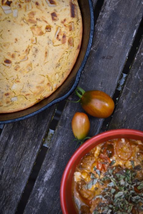 Socca: a chickpea-flour cake, served with sauteed tomatoes